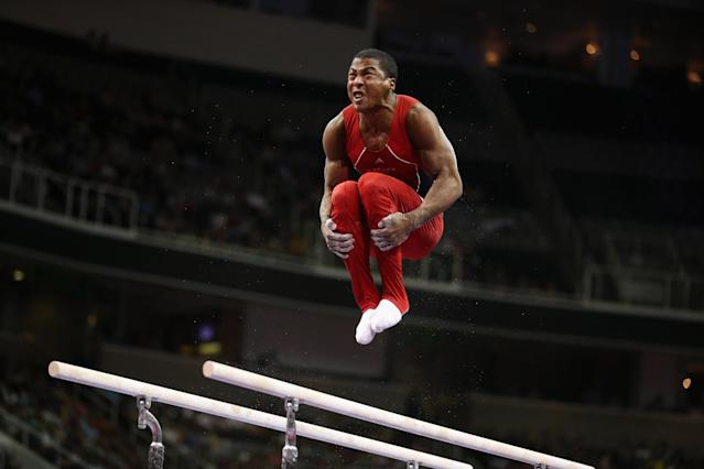 SAN JOSE, CA - JUNE 30: Joshua Dixon competes on the parallel bars during day 3 of the 2012 U.S. Olympic Gymnastics Team Trials at HP Pavilion on June 30, 2012 in San Jose, California. (Photo by Ezra Shaw/Getty Images)