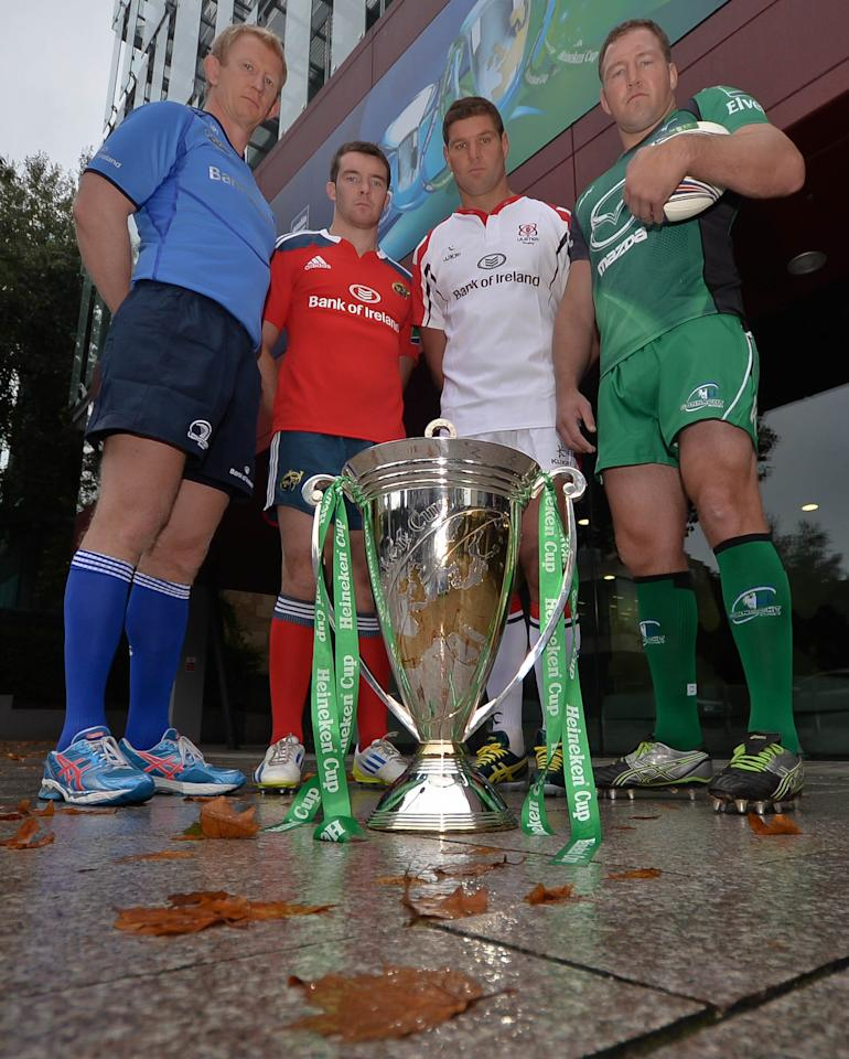 (left-right) Leinster's Leo Cullen, Munster's Peter O'Mahony, Ulster's Johann Muller and Connacht's Michael Swift during the Irish Heineken Cup Launch at Sky Ireland, Dublin.