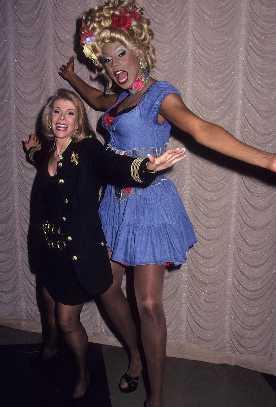 <p>RuPaul has made a lot of celebrity friends, here is Ru hamming it up with the late, great comedienne Joan Rivers. </p>