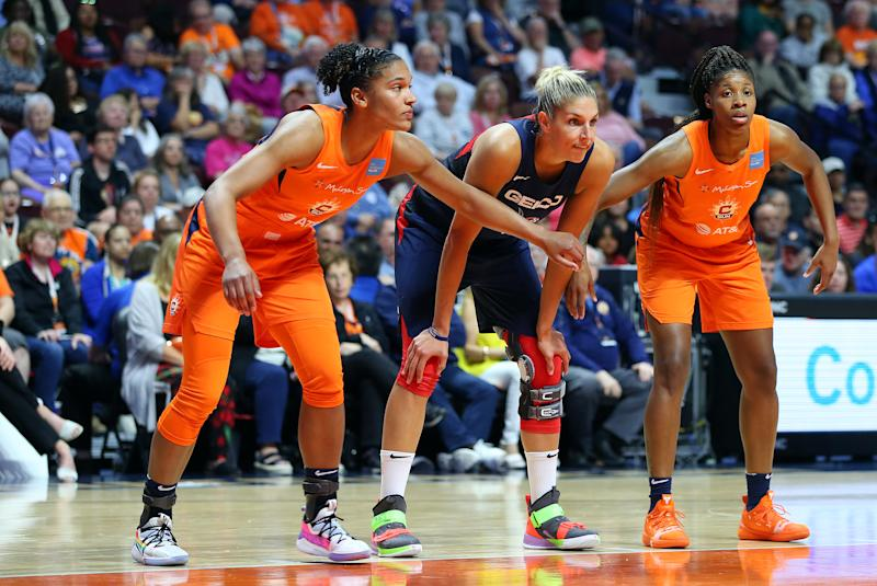 UNCASVILLE, CT - JUN 11: Connecticut Sun forward Alyssa Thomas (25), Washington Mystics forward Elena Delle Donne (11) and Connecticut Sun guard Bria Holmes (32) during the WNBA game between Washington Mystics and Connecticut Sun on June 11, 2019, at Mohegan Sun Arena in Uncasville, CT. (Photo by M. Anthony Nesmith/Icon Sportswire via Getty Images)