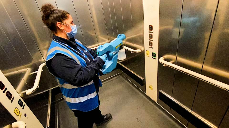 A lift being cleaned at Euston station in London (Network Rail/PA) (PA Media)
