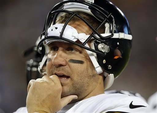 Pittsburgh Steelers quarterback Ben Roethlisberger stands on the sidelines during the first half of the Steelers' NFL football game against the Tennessee Titans on Thursday, Oct. 11, 2012, in Nashville, Tenn. (AP Photo/Joe Howell)