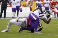 Minnesota Vikings running back Ameer Abdullah (31) is brought down by Kansas City Chiefs linebacker Anthony Hitchens during the first half of an NFL football game Friday, Aug. 27, 2021, in Kansas City, Mo. (AP Photo/Ed Zurga)