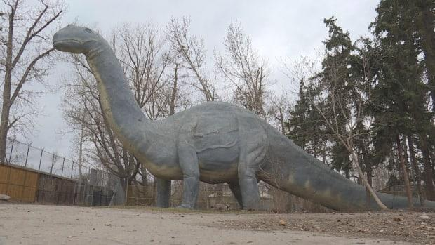 Dinny is the last of 56 statues that were part of the original Natural History Park at the Calgary Zoo. (Terri Trembath/CBC Calgary - image credit)