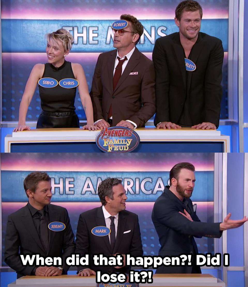 Scarlet being a little bit of sneaky and sent Chris Evans into a frenzy over his missing name tag.