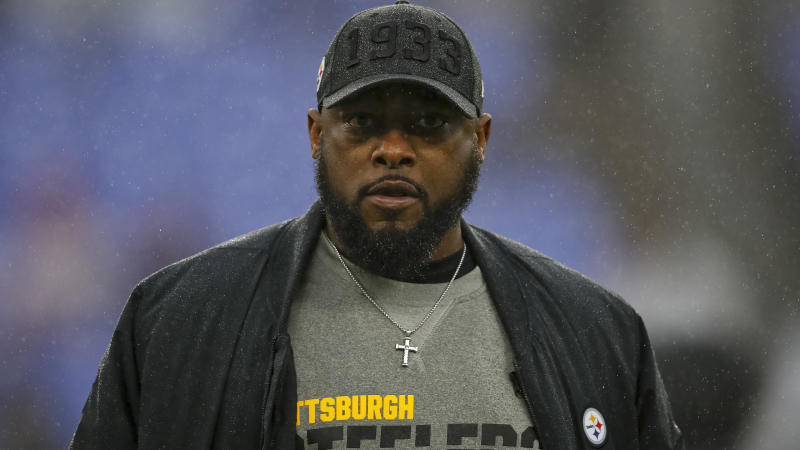 Pittsburgh Steelers head coach Mike Tomlin continues to defend quarterback Mason Rudolph against accusations of using a racial slur. (Scott Taetsch/Getty Images)