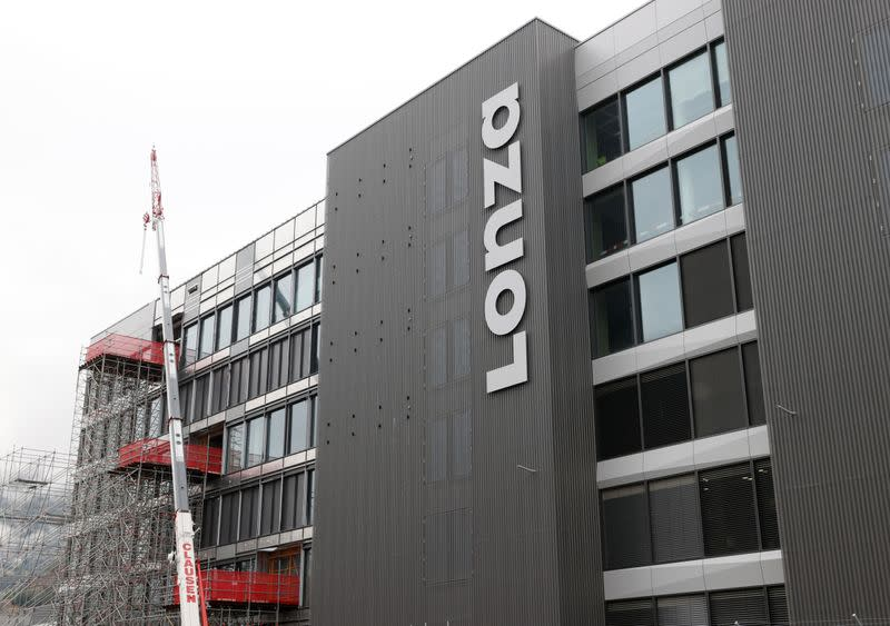 A logo is pictured on the Ibex building of Lonza in Visp
