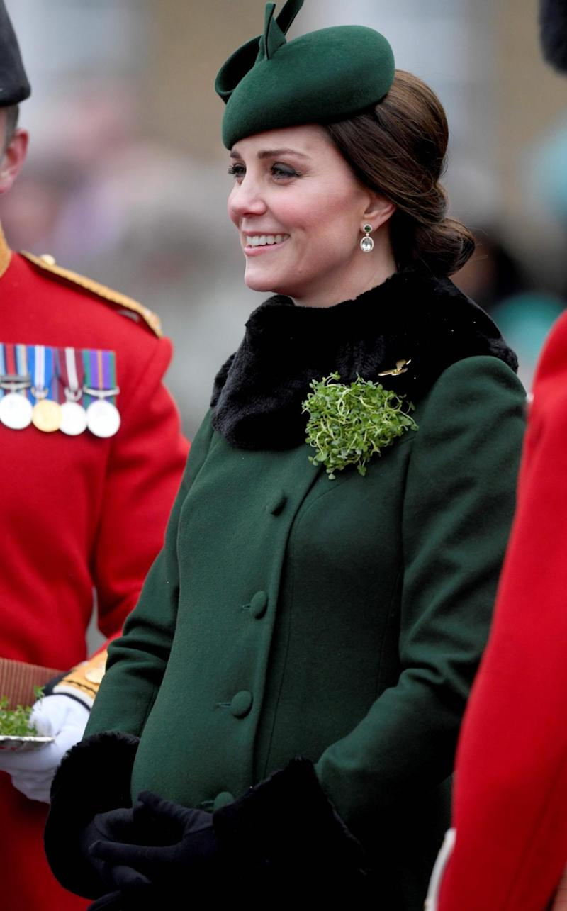 Catherine, Duchess of Cambridge, attends the St. Patrick's Day Parade with the 1st Battalion Irish Guards at Cavalry Barracks, Hounslow, London on March 17, 2018. (AFP/Getty Images)