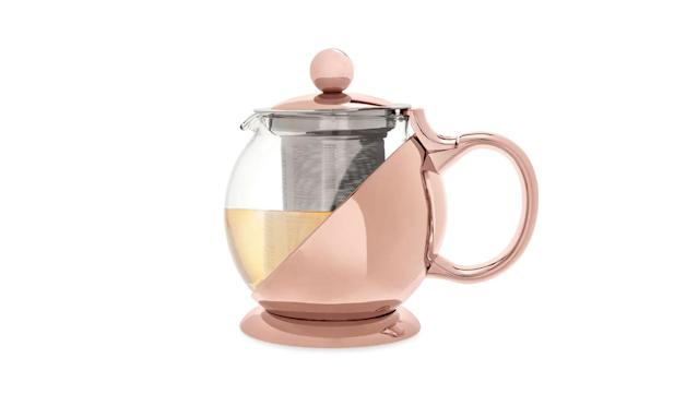 "<p>Shelby rose-gold-wrapped tea pot and infuser, $29, <a href=""https://www.themine.com/tea-kettles/pinky-up-shelby-rose-gold-wrapped-teapot-amp-infuser_13252482.html?ppc=2615&af=2615&cm_mmc=sce_google&s_kwcid=AL!4500!3!188562332395!!!g!293075162091!&gclid=EAIaIQobChMIk5HJgerw1wIVA4ezCh3xIQX8EAQYAyABEgLwFPD_BwE&ef_id=WJuM3AAABdafQl2w:20171204165828:s"" rel=""nofollow noopener"" target=""_blank"" data-ylk=""slk:themine.com"" class=""link rapid-noclick-resp"">themine.com</a> </p>"
