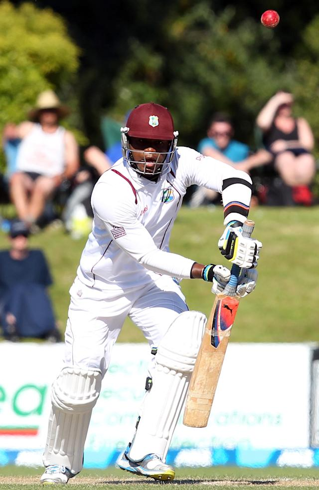DUNEDIN, NEW ZEALAND - DECEMBER 05: Marlon Samuels of the West Indies bats during day three of the first test match between New Zealand and the West Indies at University Oval on December 5, 2013 in Dunedin, New Zealand. (Photo by Rob Jefferies/Getty Images)