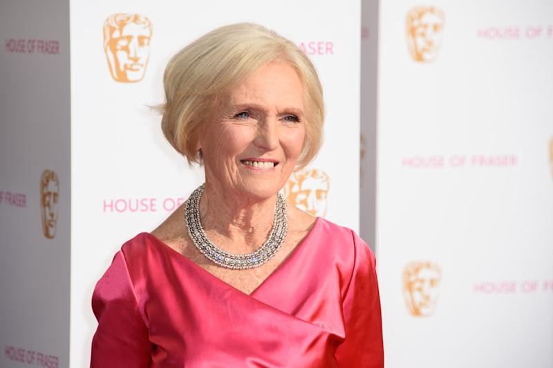 Mary Berry poses for photographers upon arrival at the BAFTA Television awards in central London, Sunday, May 10, 2015. (Photo by Jonathan Short/Invision/AP)