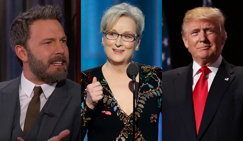 Ben Affleck, Meryl Streep and Donald Trump. (Credit: ABC / NBC / Getty Images)