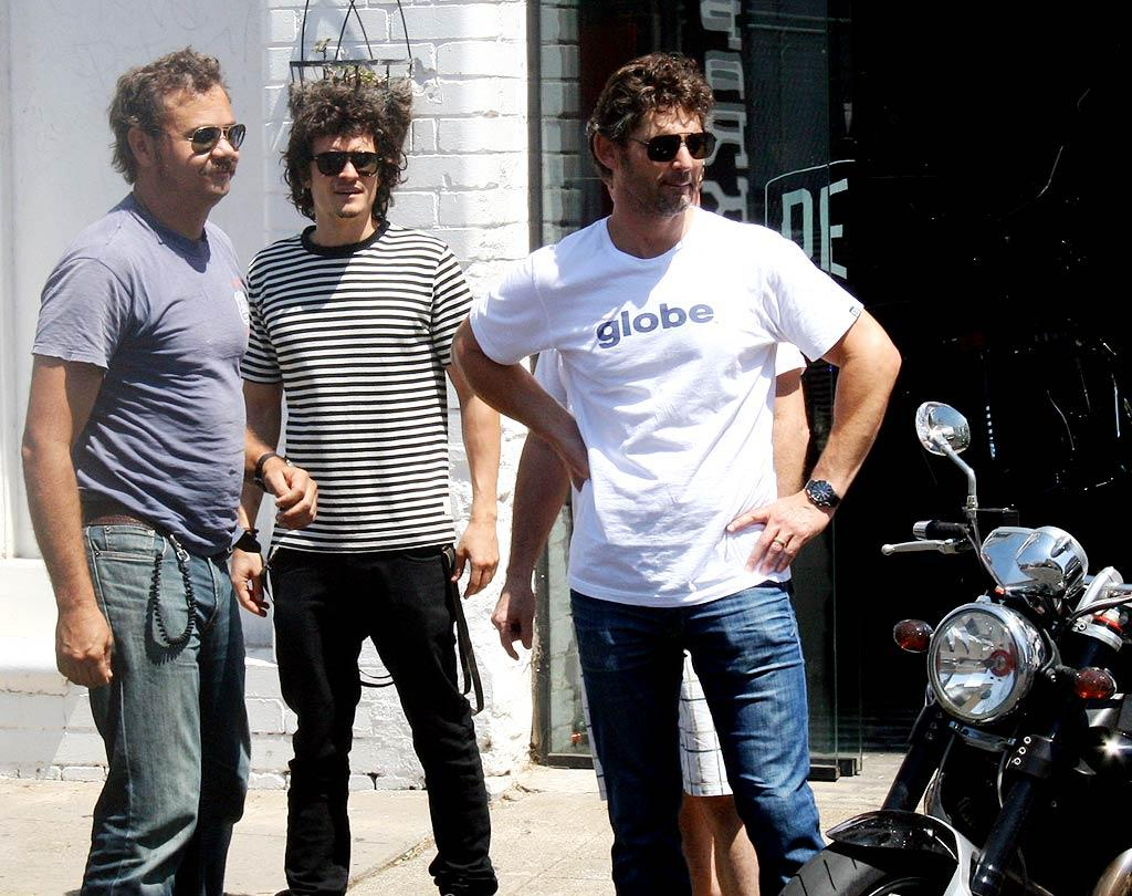 """Troy"" costars Eric Bana and Orlando Bloom pay a visit to Deus Ex Machina, a custom motorcycle and bike shop in Sydney, Australia. <a href=""http://www.splashnewsonline.com"" target=""new"">Splash News</a> - February 24, 2009"