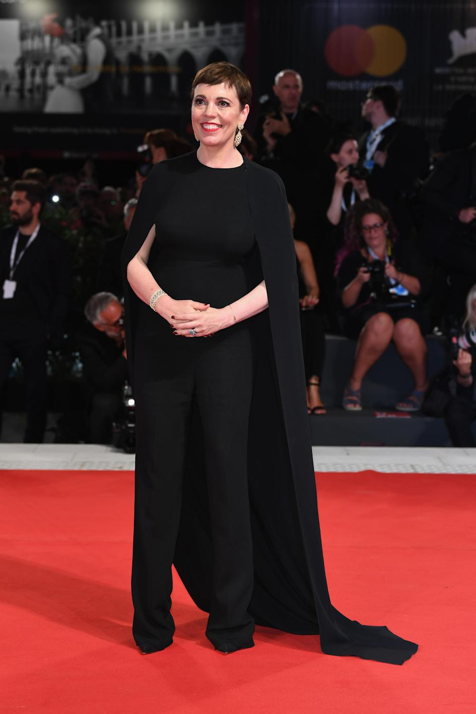 <p>The 'Broadchurch' actress looked incredible in a Stella McCartney jumpsuit with cape. <em>[Photo: Getty]</em> </p>