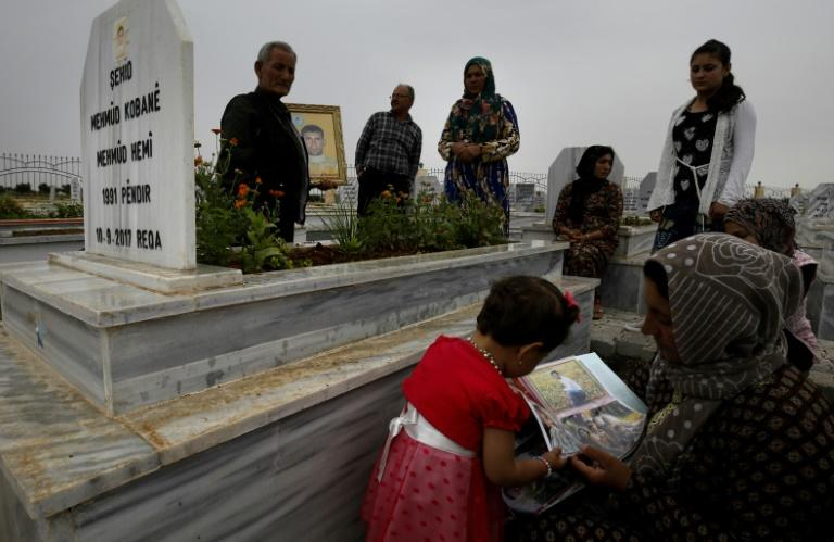 Syrian Kurds visit graves of loved ones at the Martyrs' Cemetery in the northern town of Kobane on May 28, 2018