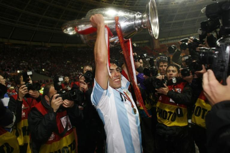 Carlos Tevez donned an Argentina shirt when he lifted the Champions League with Manchester United in 2008