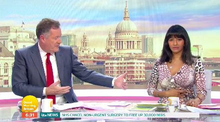 Piers Morgan and Ranvir Singh are presenting 'GMB' at a safe distance. (ITV)