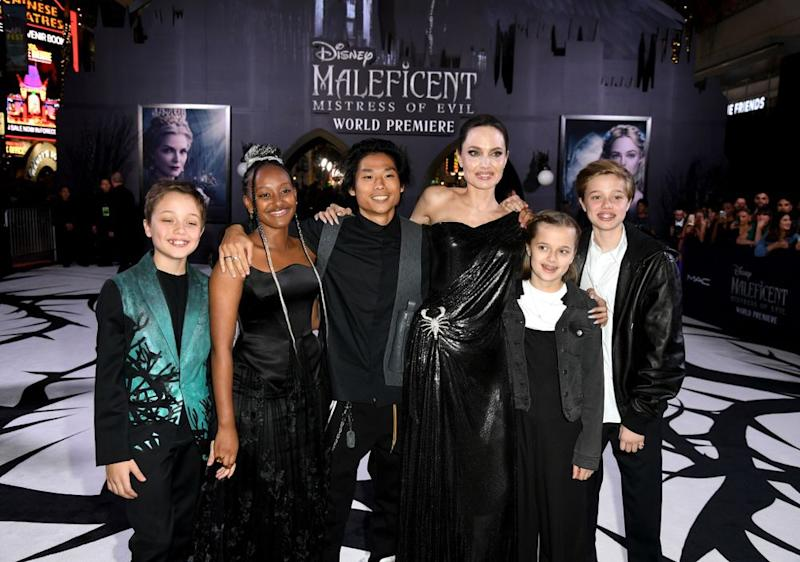 Angelina Jolie with kids Knox, Zahara, Pax, Vivienne and Shiloh | Kevin Winter/Getty Images