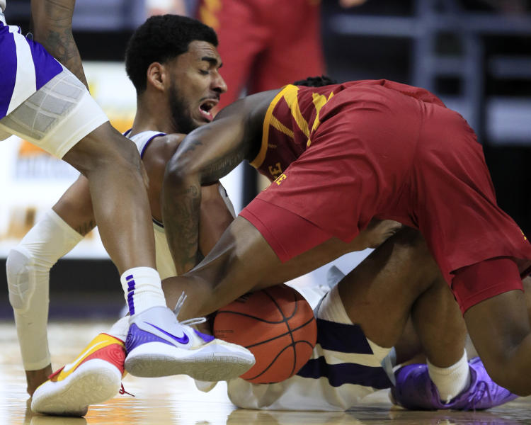 Kansas State forward Antonio Gordon, left, goes to the floor with Iowa State guard Terrence Lewis, right, during the second half of an NCAA college basketball game in Manhattan, Kan., Saturday, March 7, 2020. (AP Photo/Orlin Wagner)