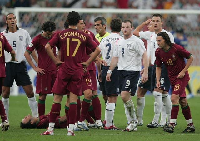 Ronaldo watches on as England's Wayne Rooney is sent off at the 2006 World Cup