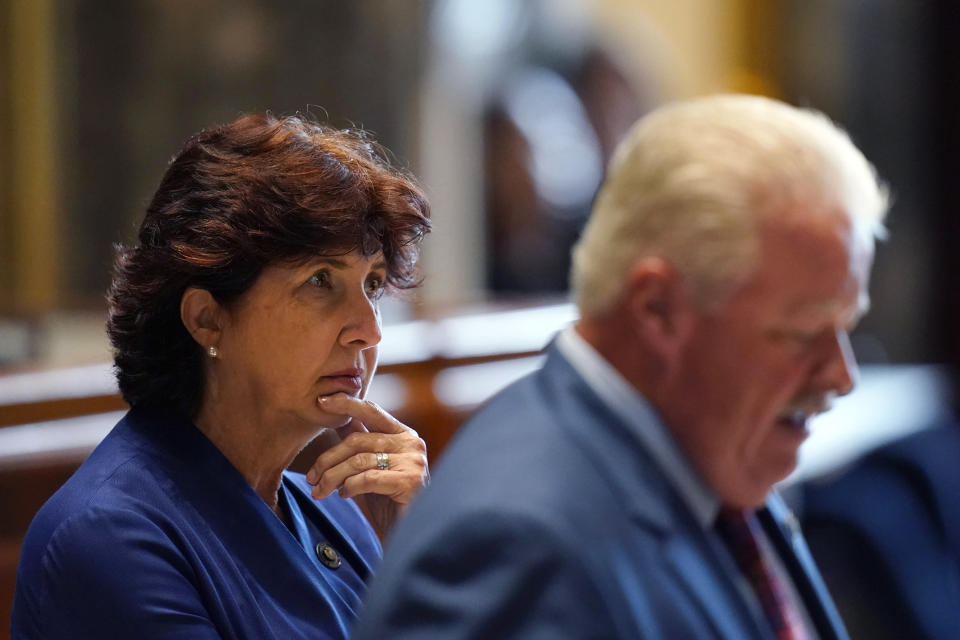 Sen. Beth Mizell, R-Franklinton, listens as Sen. Jay Luneau, D-Alexandria, speaks in the Senate Chambers during a veto session in Baton Rouge, La., Tuesday, July 20, 2021. Louisiana state senators have narrowly voted to overturn Democratic Gov. John Bel Edwards' rejection of a bill prohibiting transgender students from participating in school sports. The vote came Tuesday on the opening day of the first veto session under the state's nearly 50-year-old constitution. (AP Photo/Gerald Herbert)