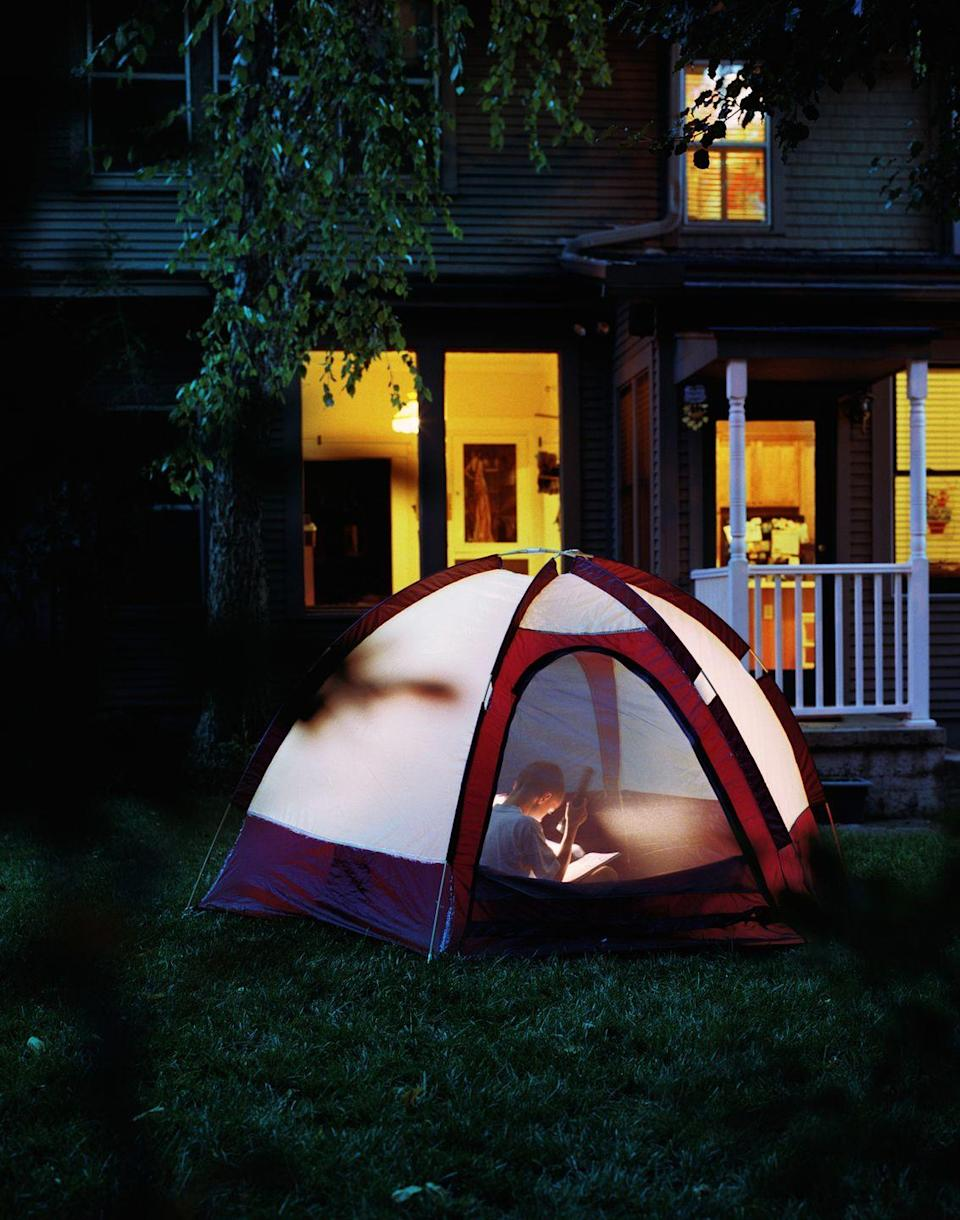 """<p>Experience everything the great outdoors has to offer right outside your door. Your kids will love this fun at-home camping idea, especially if the night ends in s'mores around a campfire.</p><p><a class=""""link rapid-noclick-resp"""" href=""""https://www.amazon.com/2-Person-Wakeman-Outdoors-Backpacking-Traveling/dp/B0050P22VK/?tag=syn-yahoo-20&ascsubtag=%5Bartid%7C10050.g.805%5Bsrc%7Cyahoo-us"""" rel=""""nofollow noopener"""" target=""""_blank"""" data-ylk=""""slk:SHOP TENTS"""">SHOP TENTS</a></p>"""