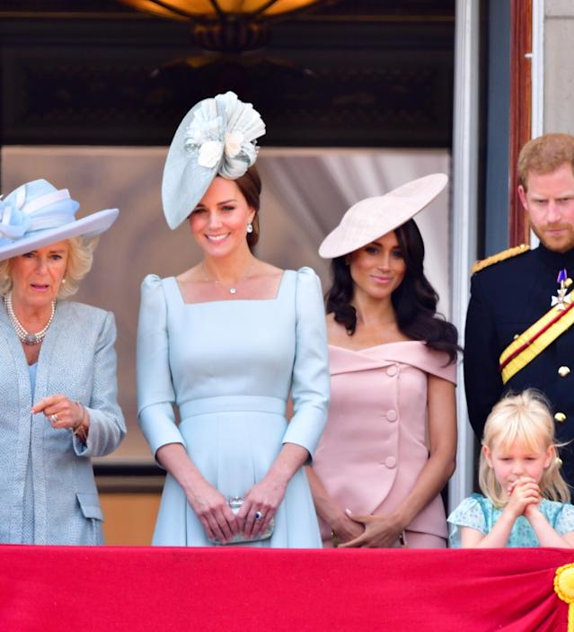 Kate Middleton and Meghan Markle at the Trooping the Colour ceremony at Buckingham Palace on June 9. (Photo: James Devaney/FilmMagic)