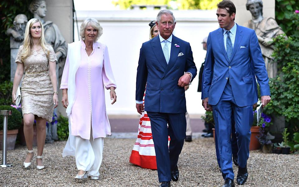 Ben Elliot pictured with his aunt the Duchess of Cornwall and Prince Charles