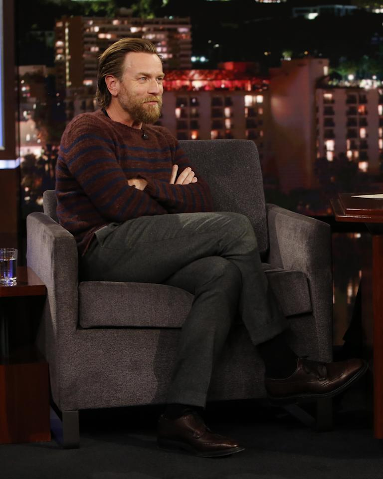 <p>WHERE: On Jimmy Kimmel Live!</p> <p>WHEN: October 29, 2019</p> <p>WHY: Ewan McGregor ushers in cozy season with a fuzzy striped sweater and excellent long hair.</p>