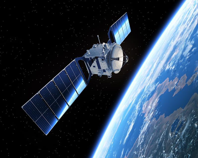 A satellite in space orbiting the Earth