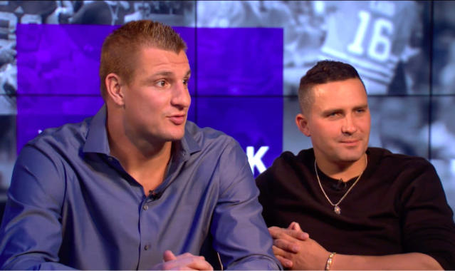 "Rob ""Gronk"" Gronkowski (L) and Jeremy Greene in the Yahoo Finance studios."