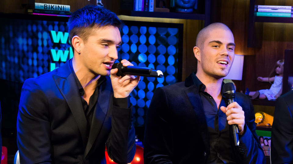 Tom Parker and Max George have been talking about the possibility of getting The Wanted back together. (Charles Sykes/Bravo/NBCU Photo Bank via Getty Images)