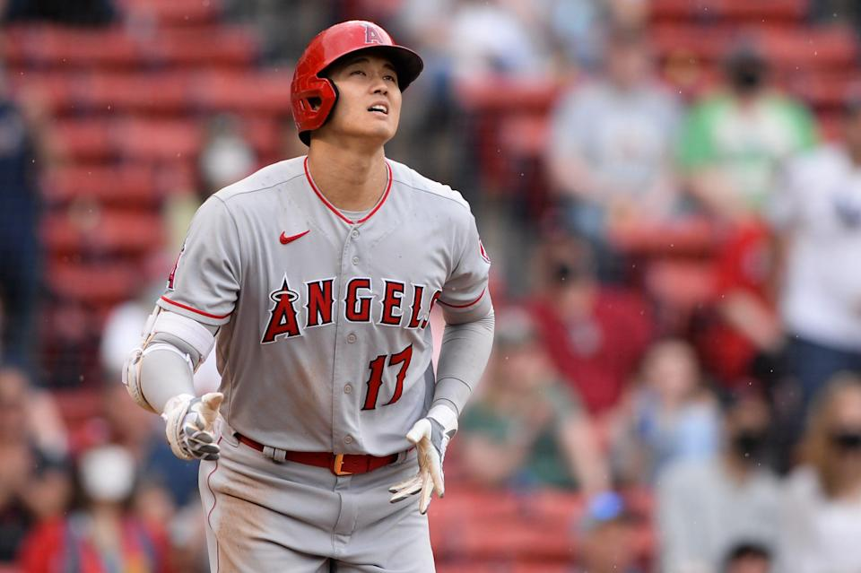 Shohei Ohtani watches after launching his go-ahead home run vs. the Red Sox on Sunday.