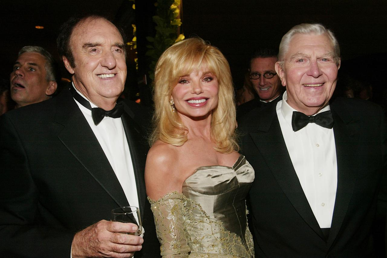 NEW YORK - NOVEMBER 2: (U.S. TABS AND HOLLYWOOD REPORTER OUT) Actors Jim Nabors, Loni Anderson and Andy Griffith attends the cocktail party for the 'CBS at 75' television gala at the Hammerstein Ballroom November 2, 2003 in New York City. (Photo by Evan Agostini/Getty Images)