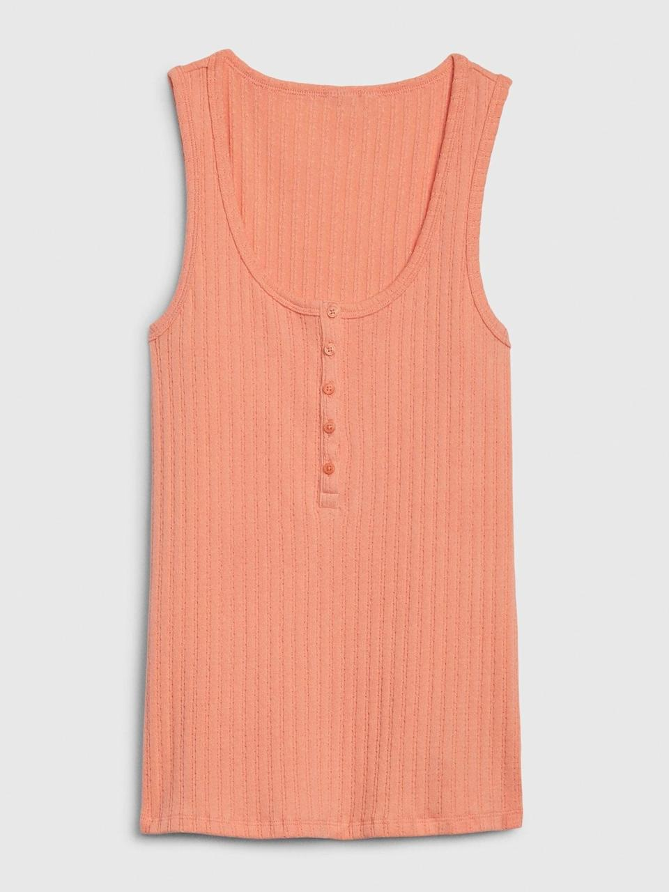 <p>Love the option of this <span>Gap Sleeveless Ribbed Henley Top</span> ($13) for warmer nights and the summer. This looks great with a button down denim a-line skirt for a 70s look!</p>