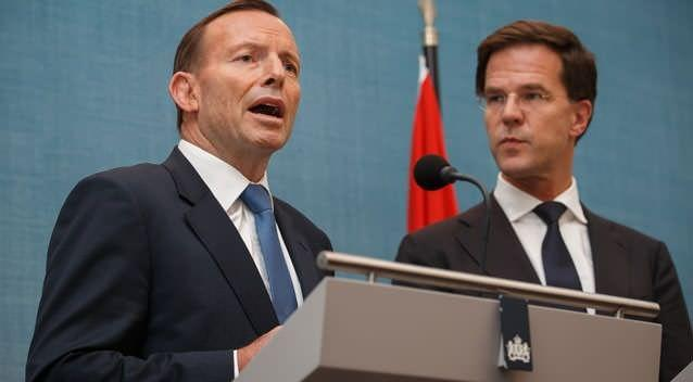 Australian Prime Minister Tony Abbott gives a statement next to Dutch Prime Minister Mark Rutte. Abbott visited the Netherlands for a one-day official visit to talk with Rutte and other Dutch officials about the ongoing investigation into the shooting down of flight MH17. Photo: Getty