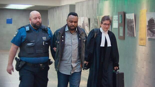 Pastor Paul Mukendi is seen leaving the Quebec City courthouse in February of 2020. In 2019, Mukendi was convicted of sexually and physically assaulting a teenage girl. (Radio-Canada - image credit)