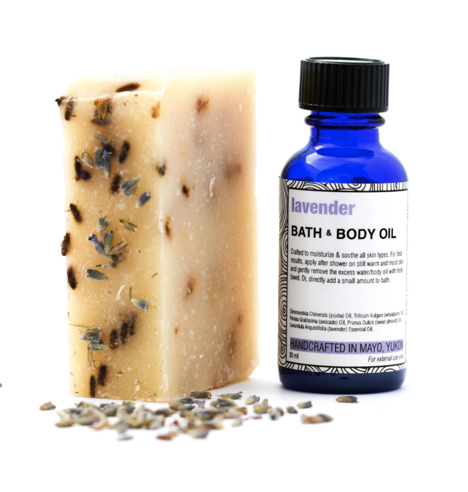 """<p><strong>Yukon Soaps</strong></p><p>yukonsoaps.com</p><p><strong>$20.00</strong></p><p><a href=""""https://yukonsoaps.com/products/essential-oil-matching-soap-combo"""" rel=""""nofollow noopener"""" target=""""_blank"""" data-ylk=""""slk:Shop Now"""" class=""""link rapid-noclick-resp"""">Shop Now</a></p><p>Of Northern Tutchone heritage, owner Joella Hogan has been making these soaps for 20 years in the Yukon area (hence the name <a href=""""https://www.instagram.com/yukonsoapscompany/"""" rel=""""nofollow noopener"""" target=""""_blank"""" data-ylk=""""slk:Yukon Soaps"""" class=""""link rapid-noclick-resp"""">Yukon Soaps</a>). The hand-poured small batch soaps, complemented by essential oils, are made from natural ingredients like olive and coconut oils and wild rose petals. </p>"""