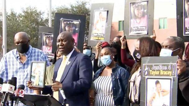 PHOTO: Civil rights attorney Ben Crump holds a press briefing with the family of Taylor Bracey outside the Osceola County Sheriff's Office in Florida, Jan. 30, 2021. (Facebook / WFTV)