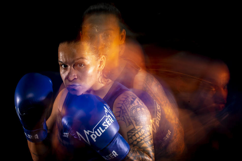SAO PAULO, BRAZIL - MAY 12:   (EDITORS NOTE: THIS IMAGE WAS CREATED USING A SLOW SHUTTER SPEED) Brazilian boxer Beatriz