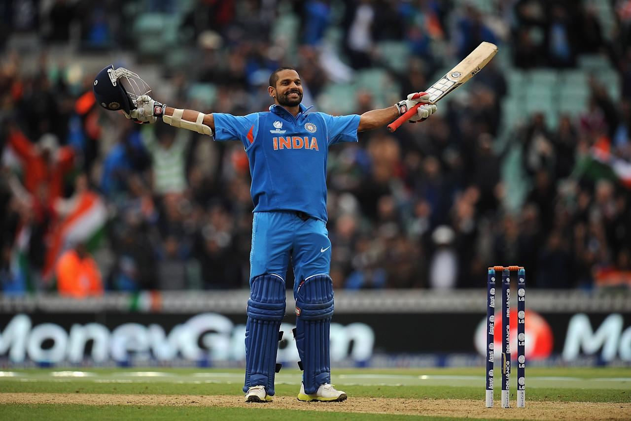 LONDON, ENGLAND - JUNE 11:  Shikhar Dhawan of Indian celebrates scoring his century during the ICC Champions Trophy Group B match between India and West Indies at The Oval on June 11, 2013 in London, England.  (Photo by Christopher Lee-ICC/ICC via Getty Images)