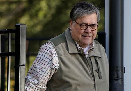 U.S. Attorney General William Barr leaves his house in McClean, Virginia, U.S., March 24, 2019.      REUTERS/Joshua Roberts