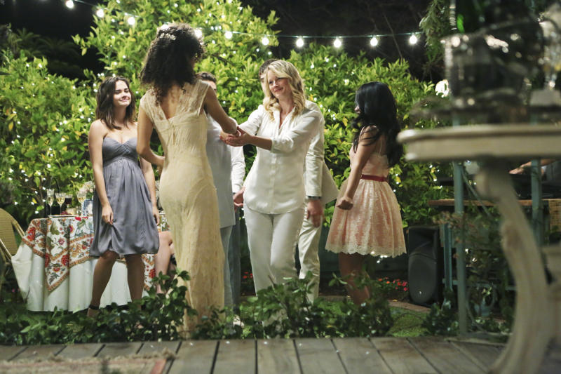 """This undated photo released by ABC Family shows, from left, Maia Mitchell, as Callie, Sherri Saum, as Lena Adams, and Teri Polo as Stef Foster in the TV series """"The Fosters,"""" airing Mondays, 9:00 - 10:00 P.m. ET/PT. Foster is a dedicated police officer, and her partner, Adams, a school Vice Principal. The media advocacy group GLAAD released its annual study Friday, Oct. 11, 2013, of the number of lesbian, gay, bisexual and transgender characters on TV. (AP Photo/ABC Family, Adam Taylor)"""