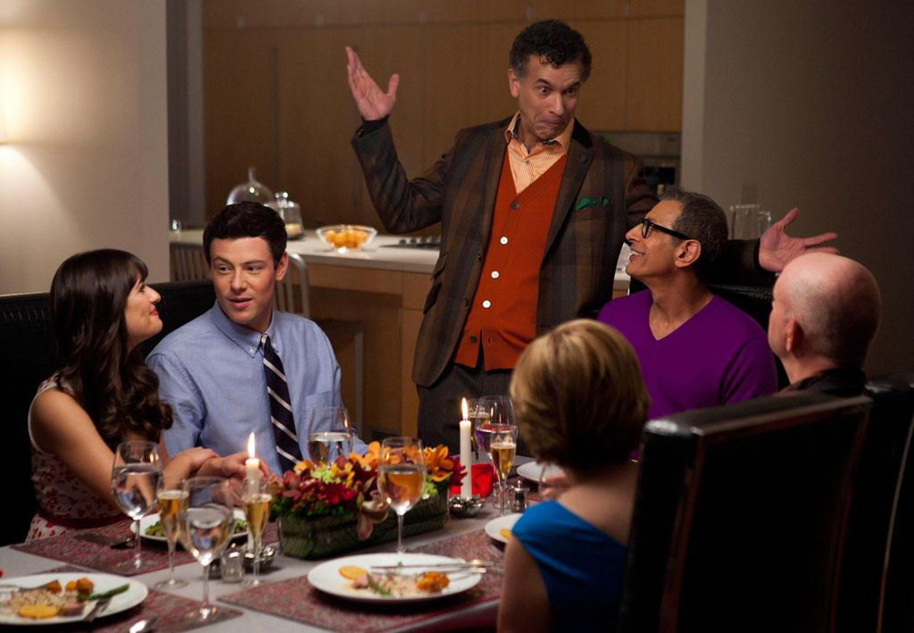 "Rachel's (Lea Michele) dads Leroy (guest star Brian Stokes Mitchell) and Hiram (guest star Jeff Goldblum) invite the Hudson-Hummels over for a Valentine's Day dinner in the ""Heart"" episode of ""Glee."""