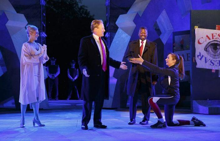 """Delta Air Lines and Bank of America are pulling their sponsorship of New York's Public Theater's production of """"Julius Caesar,"""" which features a Donald Trump look-alike in the title role. (Photo: Joan Marcus/The Public Theater via AP)"""