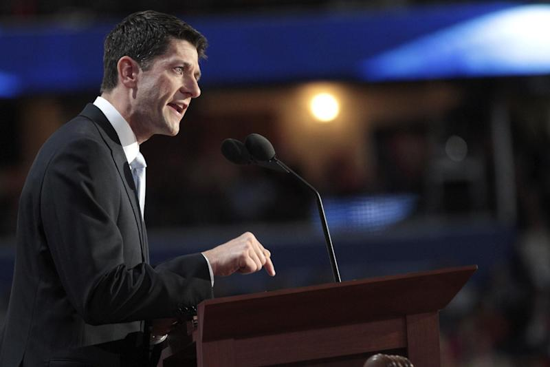 Republican vice presidential candidate, Rep. Paul Ryan, R-Wis., addresses the Republican National Convention in Tampa, Fla., Wednesday, Aug. 29, 2012. (AP Photo/Mary Altaffer)