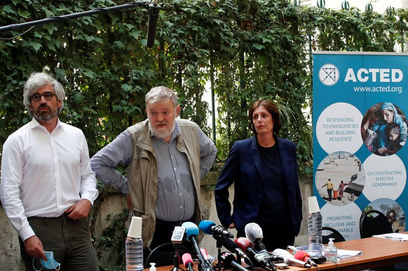 News conference at the humanitarian charity ACTED headquarters in Paris