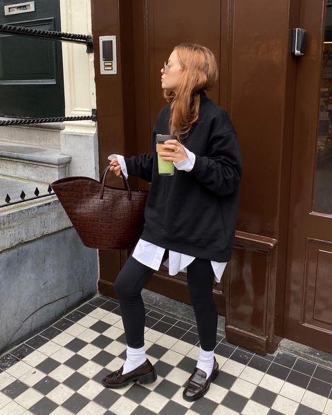 """<p>Be it loafers and leggings, or a shirt with a sweater, mix formal pieces for loungewear for that louche look. We love how Broek has left her shirt poke out of the bottom of her sweater. </p><p><a class=""""link rapid-noclick-resp"""" href=""""https://go.redirectingat.com?id=127X1599956&url=https%3A%2F%2Fwww.marksandspencer.com%2Fleather-penny-loafers%2Fp%2Fclp60275433%3Fcolor%3DBLACK%26prevPage%3Dsrp%23intid%3DprodColourId-60275433&sref=https%3A%2F%2Fwww.elle.com%2Fuk%2Ffashion%2Fg29844296%2Fcasual-clothes%2F"""" rel=""""nofollow noopener"""" target=""""_blank"""" data-ylk=""""slk:SHOP NOW"""">SHOP NOW</a></p><p><a href=""""https://www.instagram.com/p/CGnGLEmHZI3/"""" rel=""""nofollow noopener"""" target=""""_blank"""" data-ylk=""""slk:See the original post on Instagram"""" class=""""link rapid-noclick-resp"""">See the original post on Instagram</a></p>"""