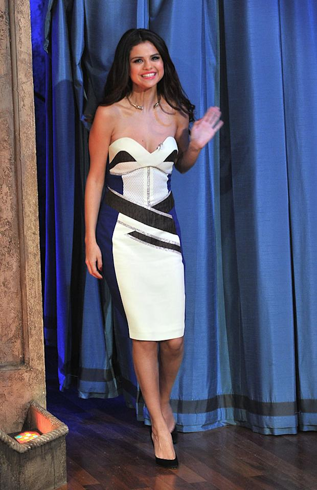 "Also spotted in this season's hottest hue was ""Spring Breakers"" star Selena Gomez, who donned this fab Antonio Berardi frock for an appearance on ""Late Night with Jimmy Fallon."" Eat your heart out, JBiebs! (3/19/2013)"