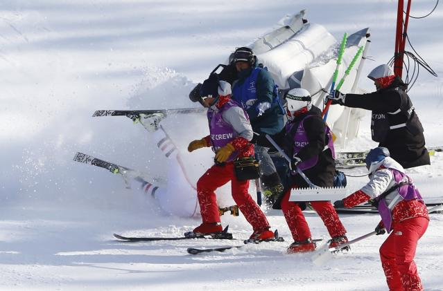 Matthias Mayer crashes during the alpine combined downhill on Tuesday (Reuters photo)